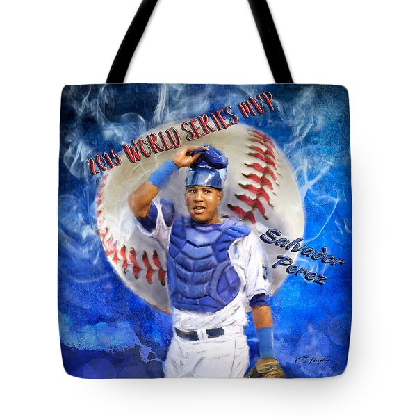 Salvador Perez 2015 World Series Mvp Tote Bag by Colleen Taylor
