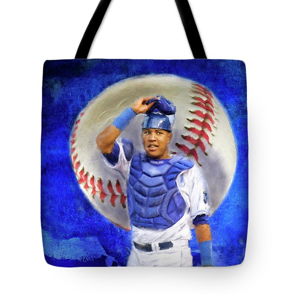 Tote Bag featuring the mixed media Salvador Perez-kc Royals by Colleen Taylor