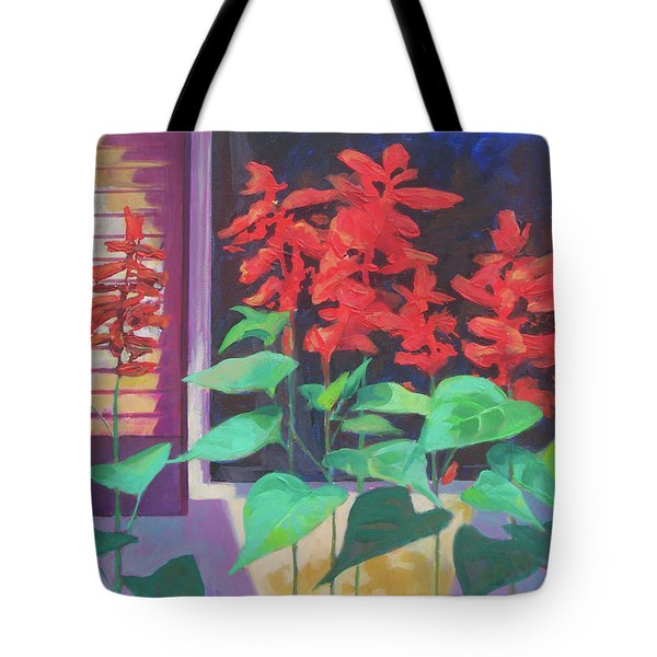 Salvia In The Windowbox Tote Bag by Carol Strickland