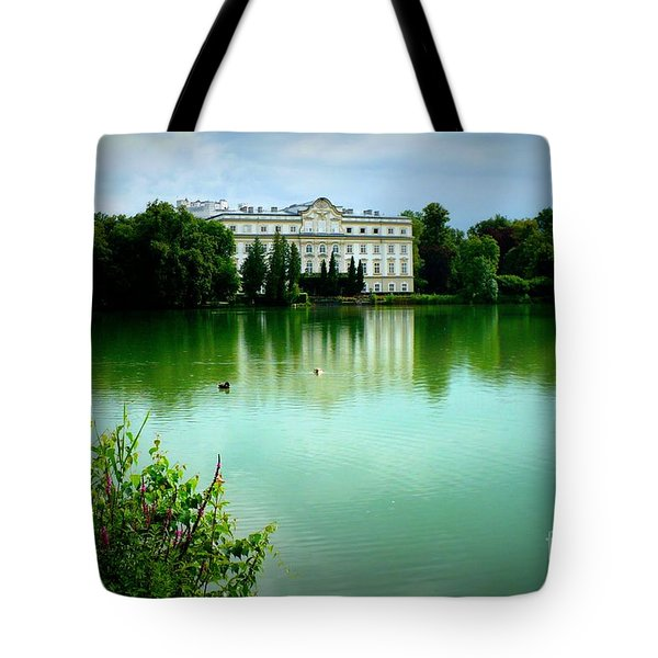 Salzburg Home With Lake Tote Bag by Carol Groenen