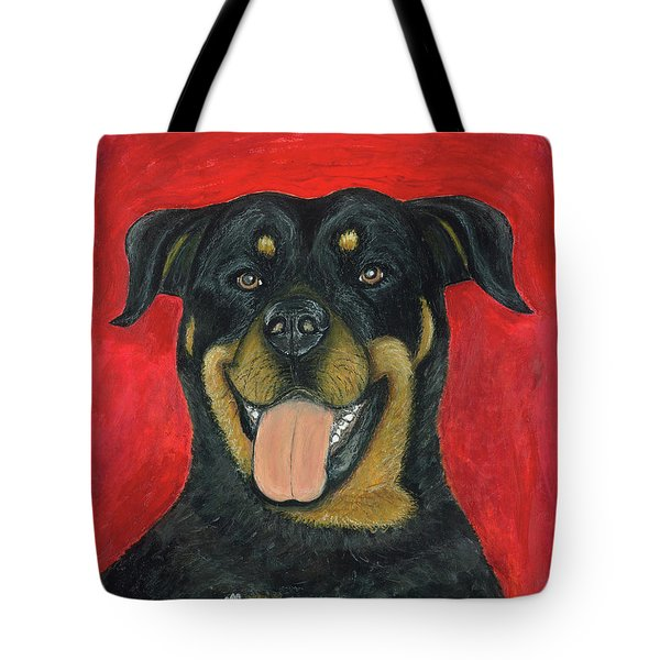 Tote Bag featuring the painting Sam The Rottewieler by Ania M Milo