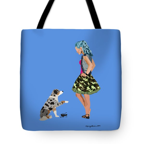 Tote Bag featuring the digital art Samantha by Nancy Levan