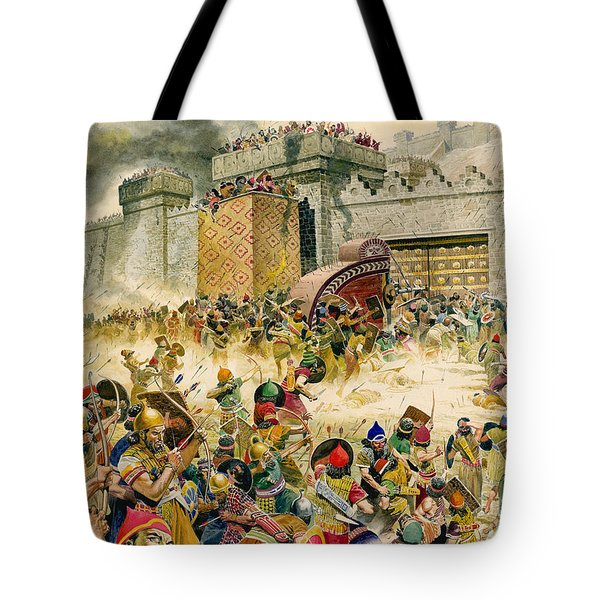 Samaria Falling To The Assyrians Tote Bag