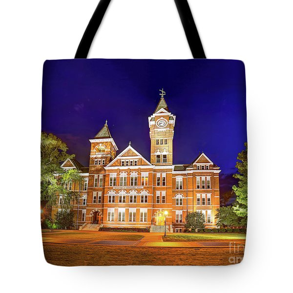 Tote Bag featuring the photograph Samford Hall At Night by Tommy Patterson