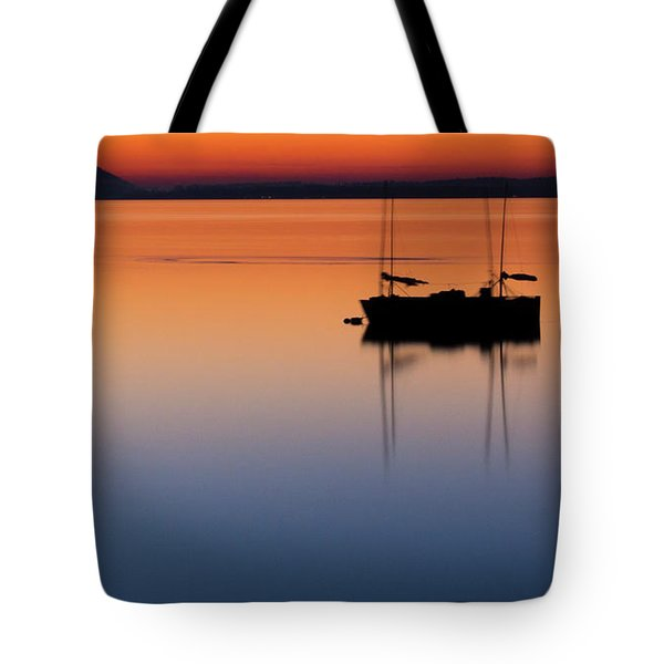 Samish Sea Sunset Tote Bag by Tony Locke