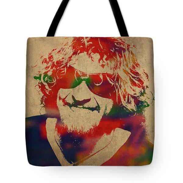 Sammy Hagar Van Halen Watercolor Portrait Tote Bag