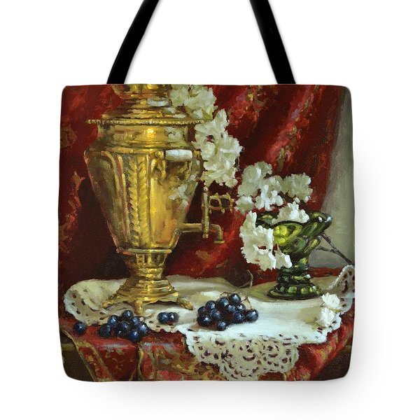 Samovar And Cherry Blossoms Tote Bag