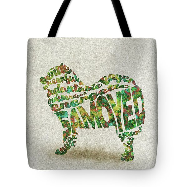 Tote Bag featuring the painting Samoyed Watercolor Painting / Typographic Art by Inspirowl Design