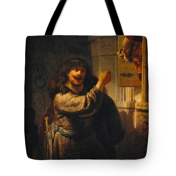 Samson Threatening His Father-in-law Tote Bag