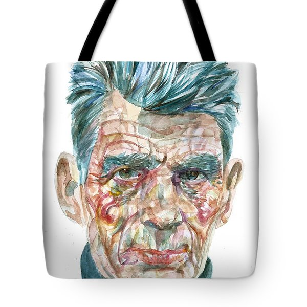 Tote Bag featuring the painting Samuel Beckett Watercolor Portrait.10 by Fabrizio Cassetta