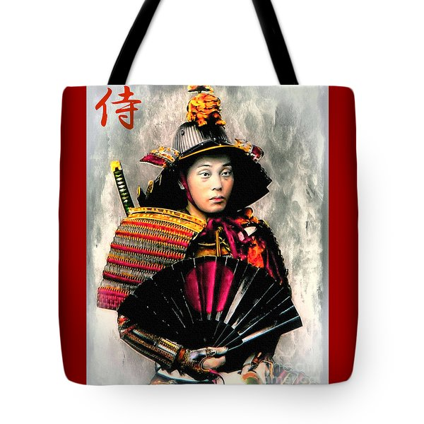 Samurai 1898 With Iron Fan Tote Bag