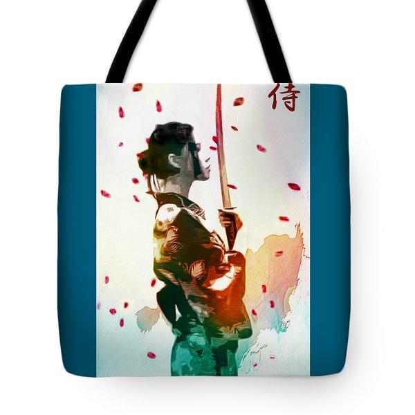 Samurai Girl - Watercolor Painting Tote Bag