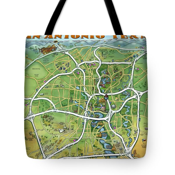 San Antonio Texas Cartoon Map Tote Bag by Kevin Middleton