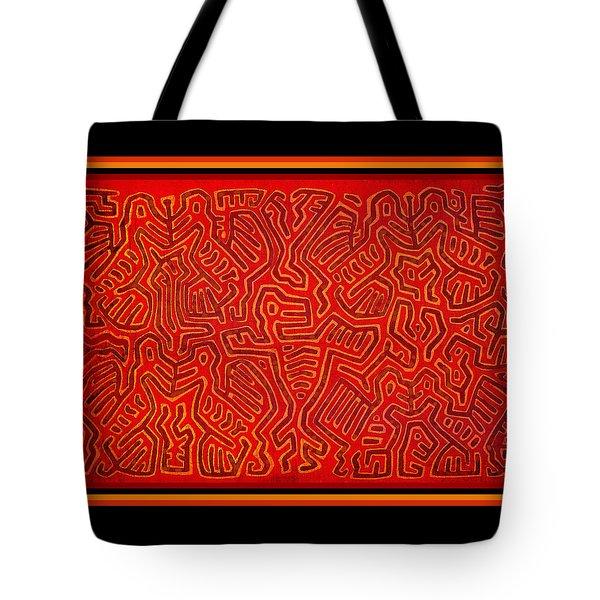 Tote Bag featuring the digital art San Blas Island Kuna Indian Birds by Vagabond Folk Art - Virginia Vivier