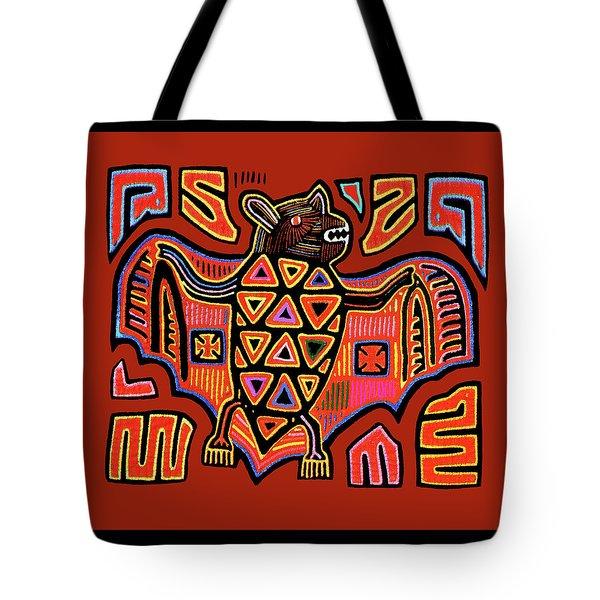 Tote Bag featuring the digital art San Blas Kuna Indian Bat by Vagabond Folk Art - Virginia Vivier