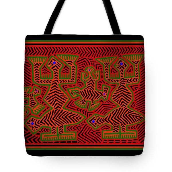 Tote Bag featuring the digital art San Blas Shaman Spirits by Vagabond Folk Art - Virginia Vivier