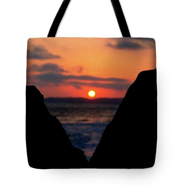 San Clemente Beach Rock View Sunset Portrait Tote Bag by Matt Harang