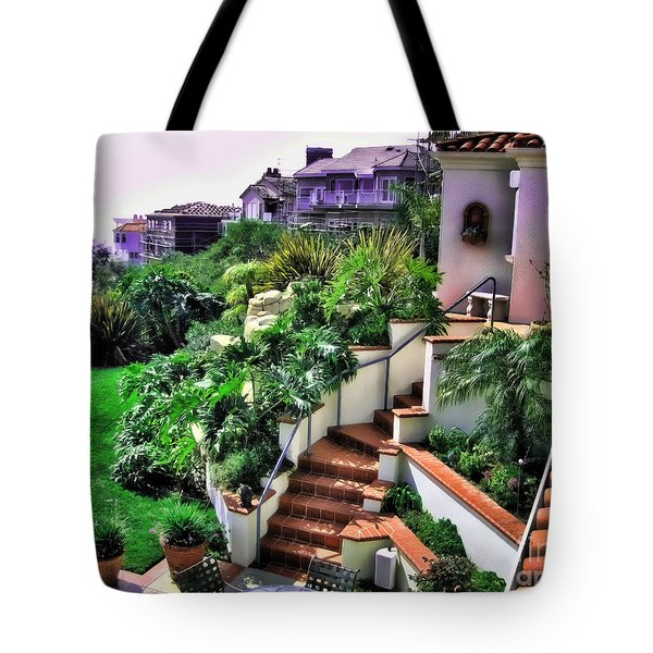 Tote Bag featuring the digital art San Clemente Estate Backyard by Kathy Tarochione