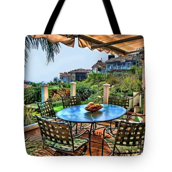 Tote Bag featuring the digital art San Clemente Estate Patio by Kathy Tarochione