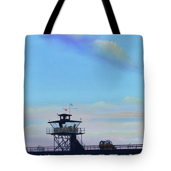 Tote Bag featuring the painting San Clemente High Surf by Mary Scott