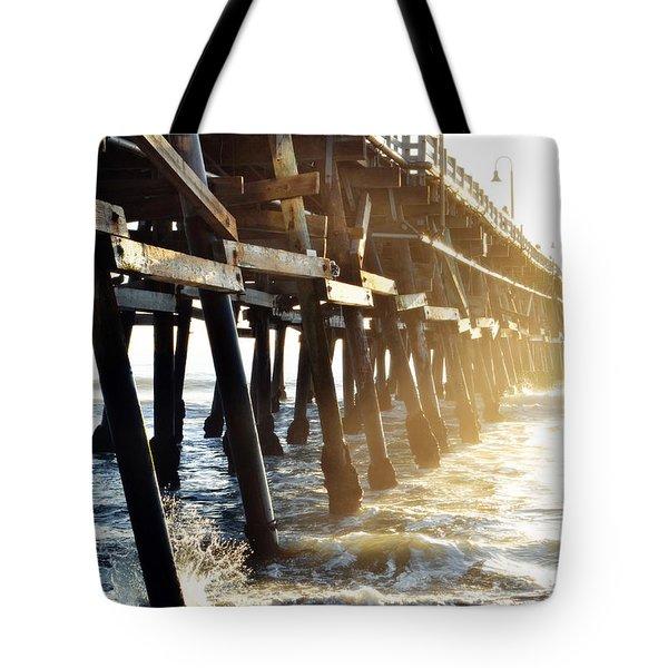 Tote Bag featuring the photograph San Clemente Pier Magic Hour by Kyle Hanson