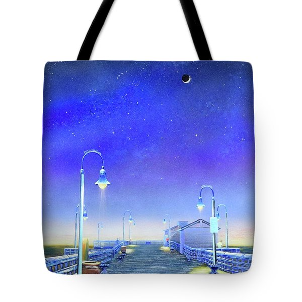Tote Bag featuring the painting San Clemente Pier by Mary Scott