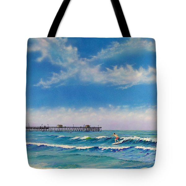 Tote Bag featuring the painting San Clemente Surf by Mary Scott