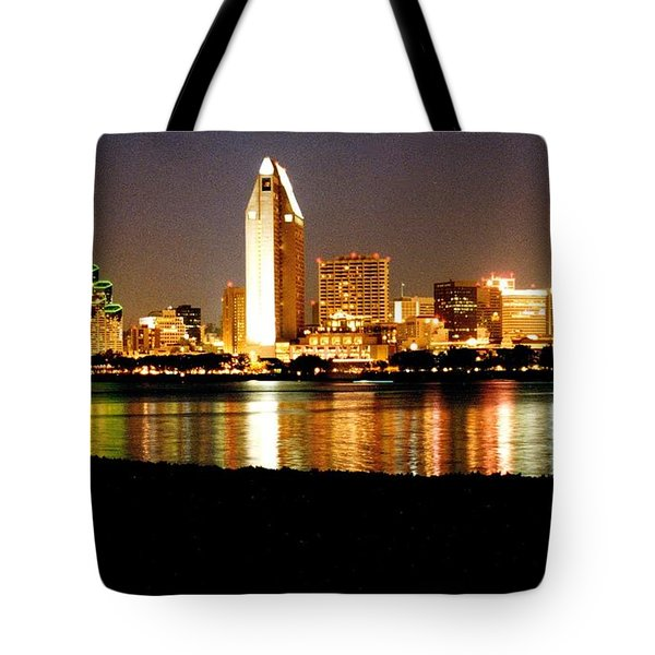 San Diego Skyline With Reflections On Mission Bay Tote Bag