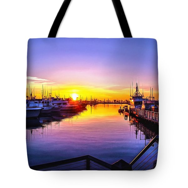 San Diego Harbor Sunrise Tote Bag
