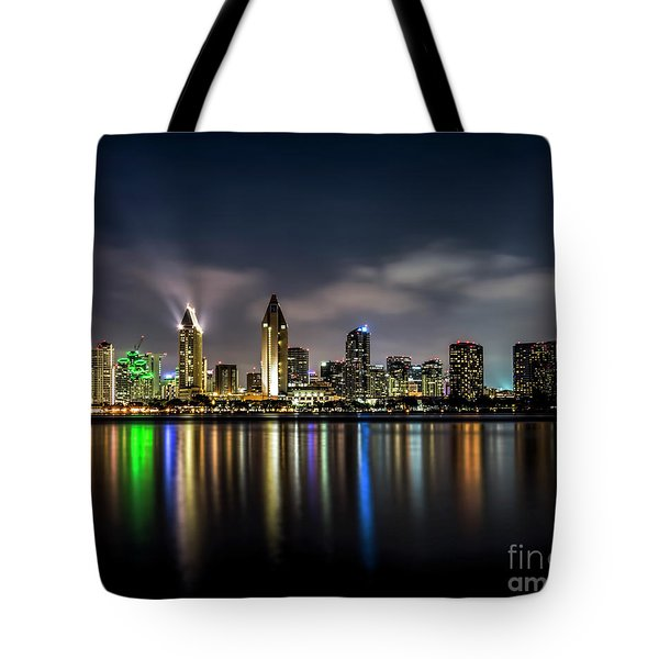 San Diego Skyline At Night Tote Bag