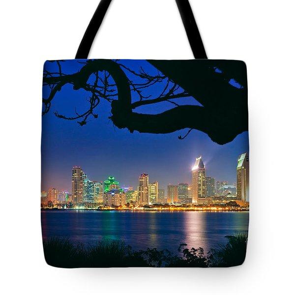 San Diego Skyline From Bay View Park In Coronado Tote Bag by Sam Antonio