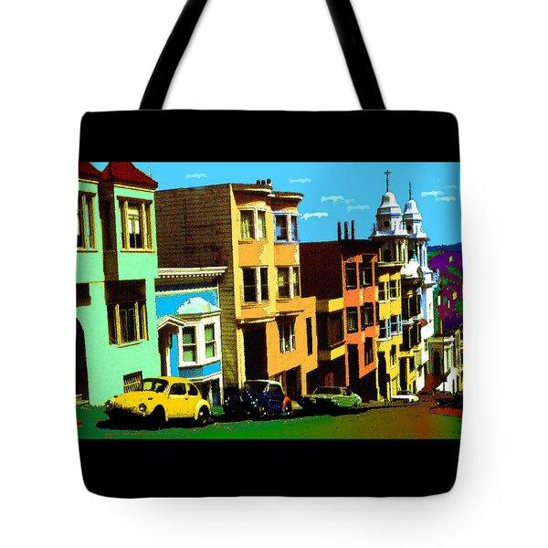 San Francisco Pop Art Blue Green Red Yellow Tote Bag