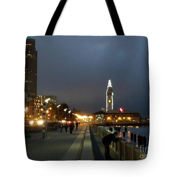 Tote Bag featuring the photograph San Francisco Bay At Night by Haleh Mahbod