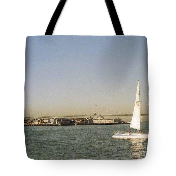 San Francisco Bay Sail Boat Tote Bag by Ted Pollard