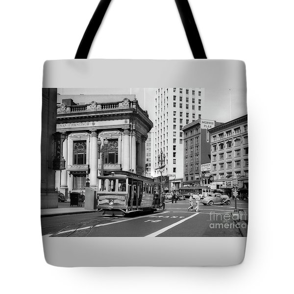 San Francisco Cable Car During Wwii Tote Bag