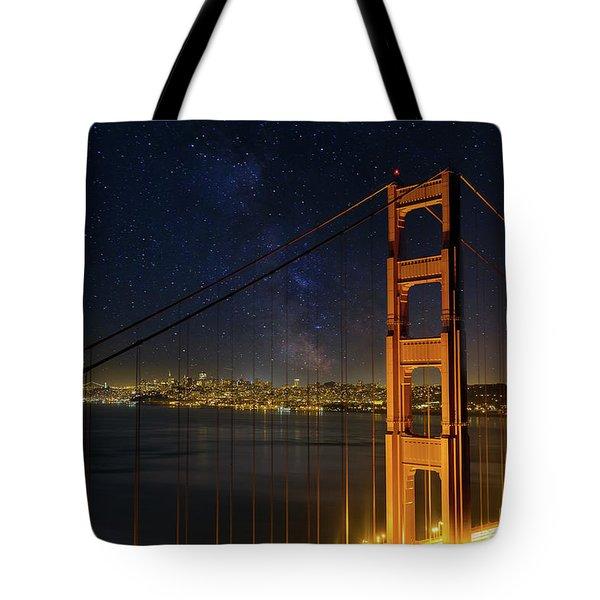 San Francisco City Skyline Through Golden Gate Bridge Tote Bag by David Gn