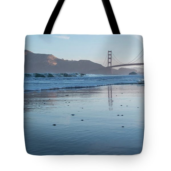 San Francisco Golden Gate Bridge Reflected On Baker's Beach Wet  Tote Bag
