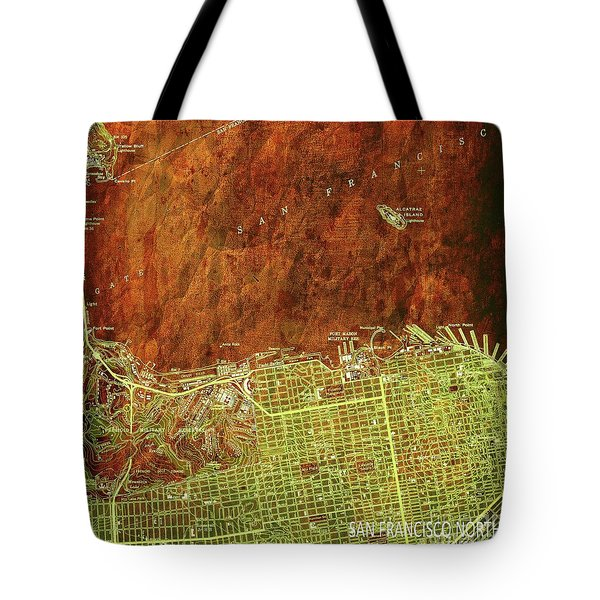 San Francisco Old Map, Green And Bronze, Vintage Paper Tote Bag