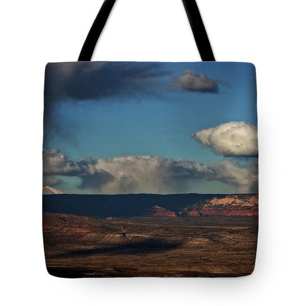 Tote Bag featuring the photograph San Francisco Peaks With Snow And Clouds by Ron Chilston