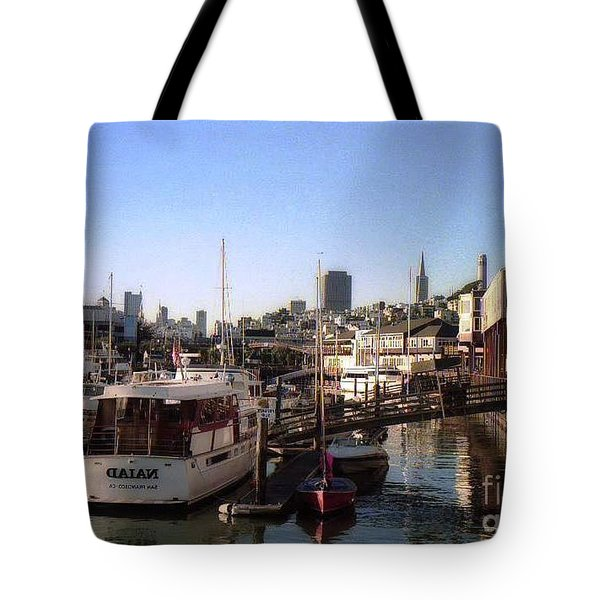 San Francisco Pier And Boats Tote Bag by Ted Pollard