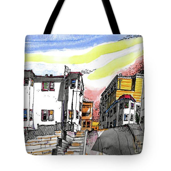 Tote Bag featuring the painting San Francisco Side Street by Terry Banderas