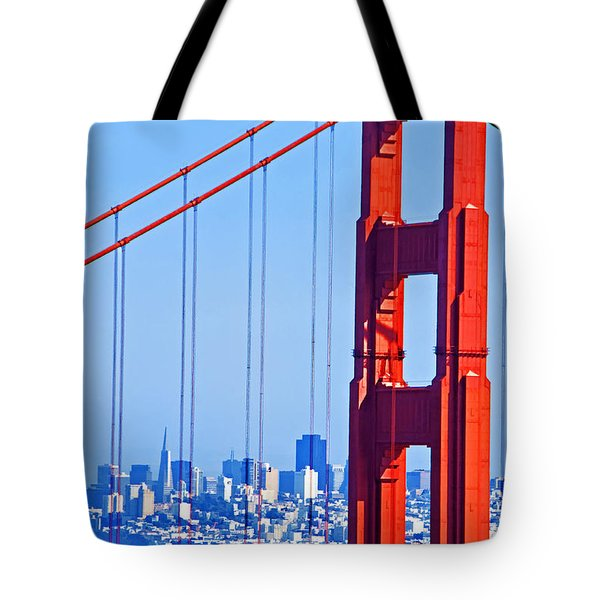San Francisco Skyline Tote Bag by Dennis Cox