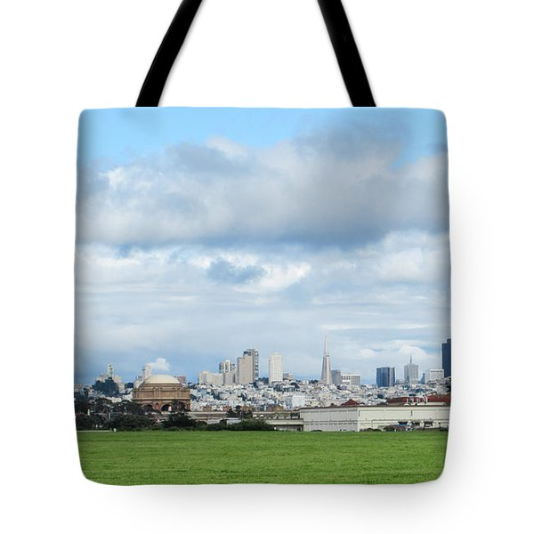 San Francisco Skyline From Crissy Field Tote Bag by Mark Barclay
