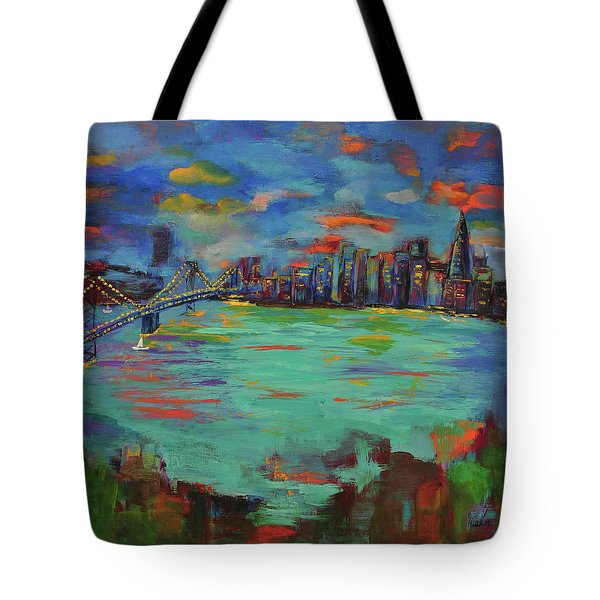 San Francisco Skyline In Sunset Tote Bag