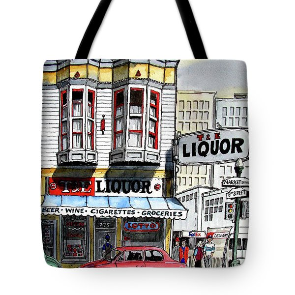 Tote Bag featuring the painting San Francisco Street Corner by Terry Banderas