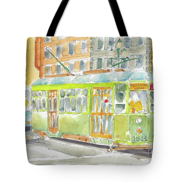 Tote Bag featuring the painting San Francisco Streetcar by Pat Katz