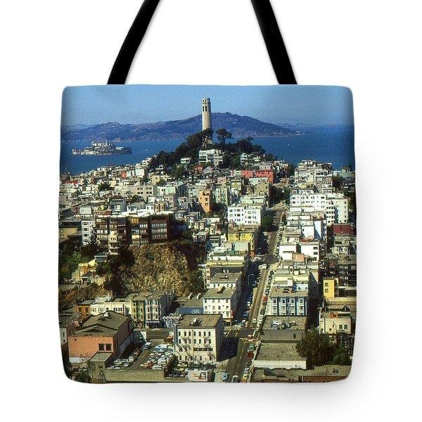 San Francisco - Telegraph Hill And Alcatraz Tote Bag