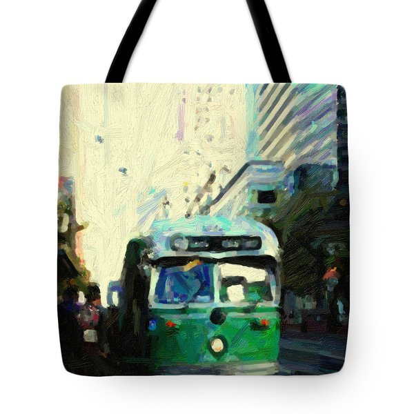 San Francisco Trolley F Line On Market Street Tote Bag by Wingsdomain Art and Photography