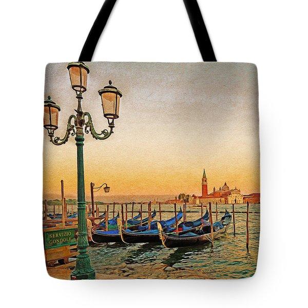 Tote Bag featuring the digital art San Giorgio Maggiore Venice Gondolas by Anthony Murphy