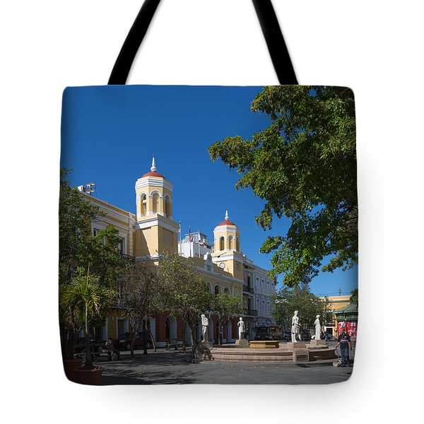 Tote Bag featuring the photograph San Juan City Hall From Plaza De Armas by Jose Oquendo
